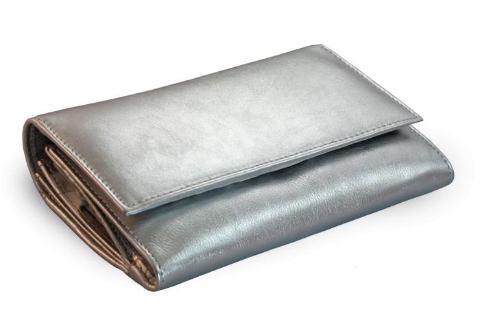 Stříbná dámská kožená psaníčková peněženka Ayla