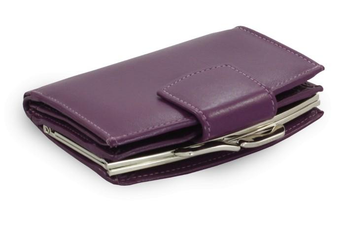 Fialová dámská kožená rámová peněženka Finley