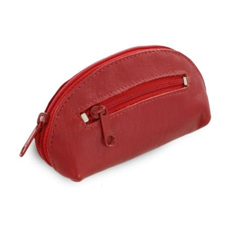 Červená kožená dvouzipová klíčenka Darina
