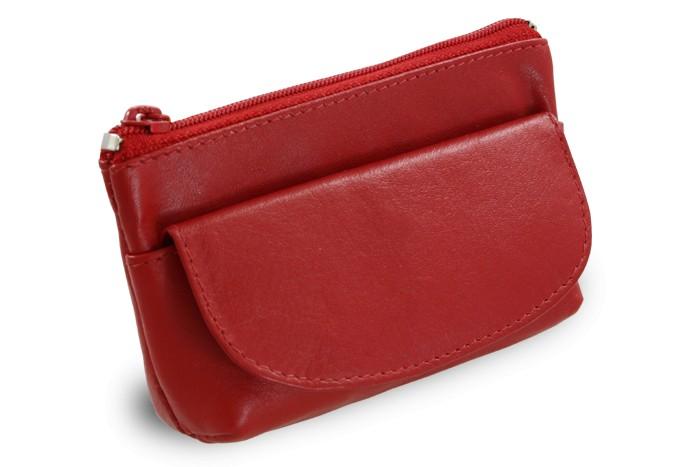 Červená kožená klíčenka Deny