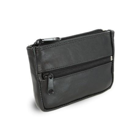 Černá kožená klíčenka s kapsičkami Alena