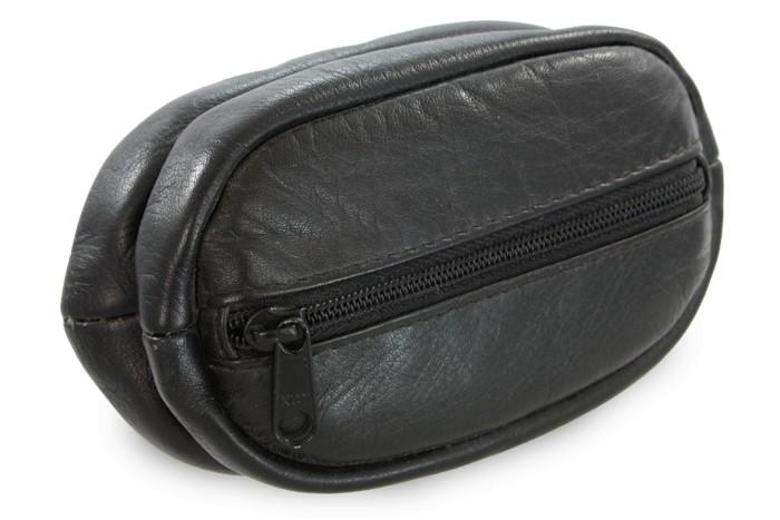 Černá kožená klíčenka se dvěma velkýma zipovýma kapsama Megan