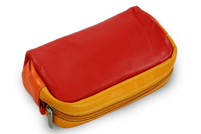 Červeno žluto oranžová dámská kožená etue Leilen