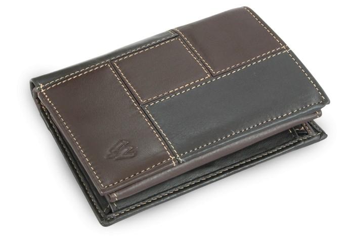 Černo hnědá pánská kožená peněženka Hector