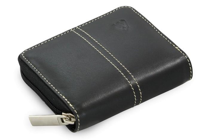 Černý kožený zásobník na kreditní karty a vizitky Minsel