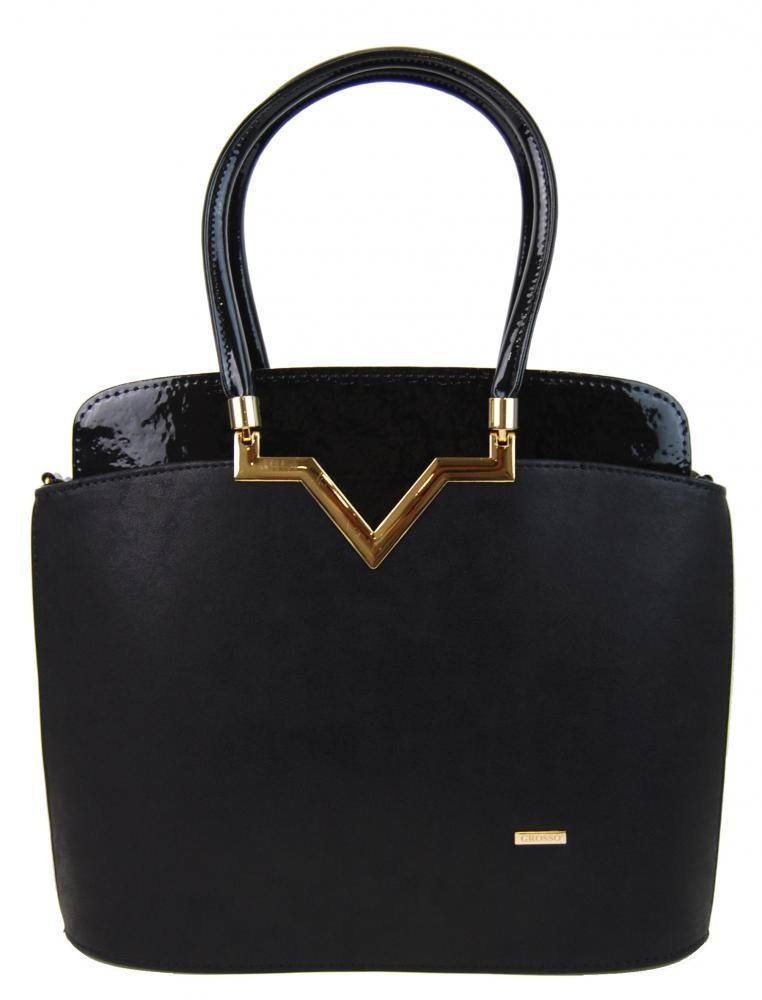 Černá matná lakovaná kabelka Anabiel