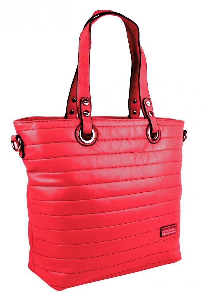 Červená prošívaná kabelka na rameno Jantie