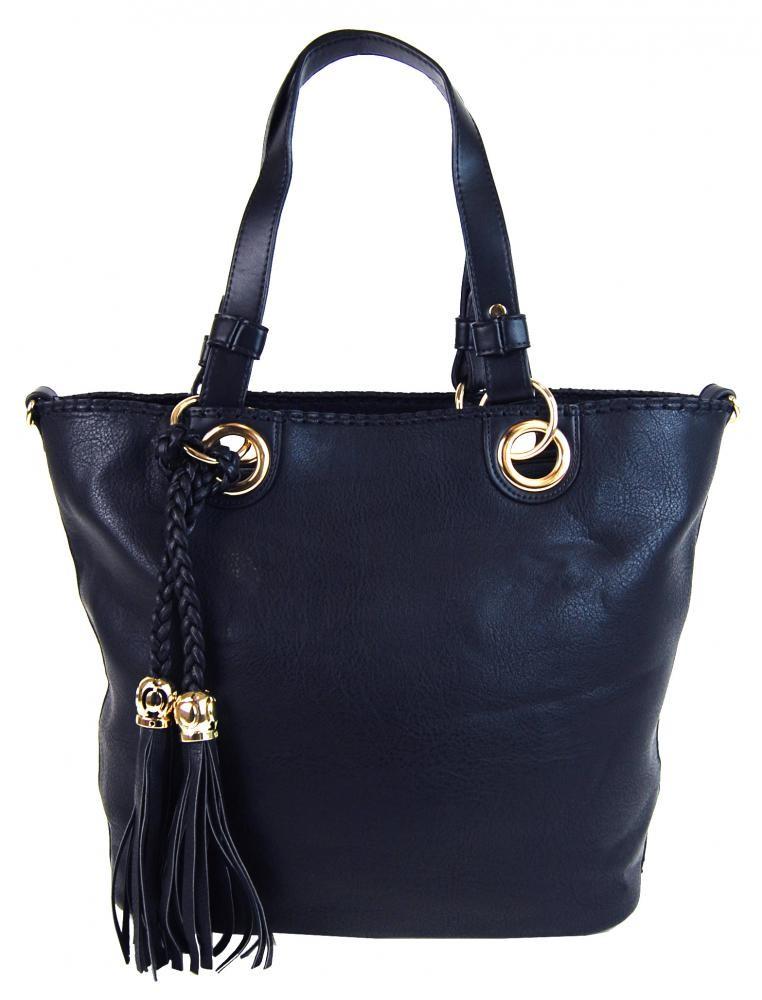 Tmavě modrá elegantní kabelka přes rameno se zlatými doplňky Sheriel