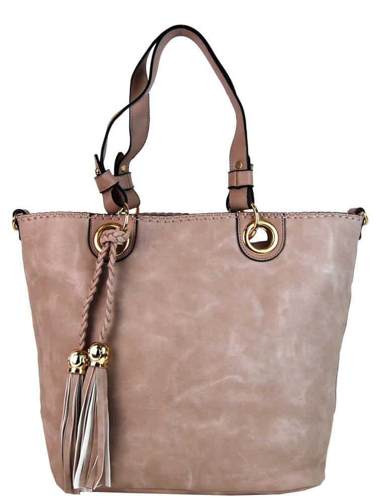 Růžová elegantní kabelka přes rameno se zlatými doplňky Sheriel