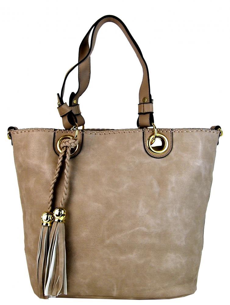 Přírodní hnědá elegantní kabelka přes rameno se zlatými doplňky Sheriel