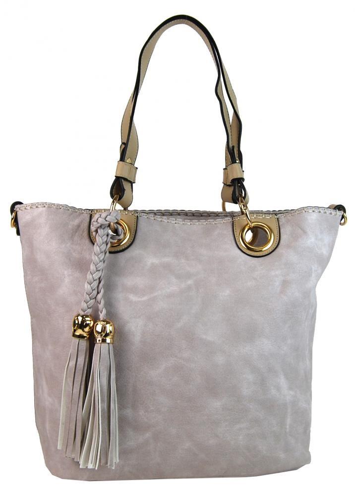 Šedo růžová elegantní kabelka přes rameno se zlatými doplňky Sheriel