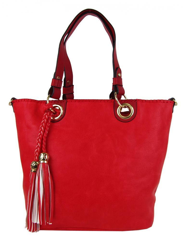 Červená elegantní kabelka přes rameno se zlatými doplňky Sheriel