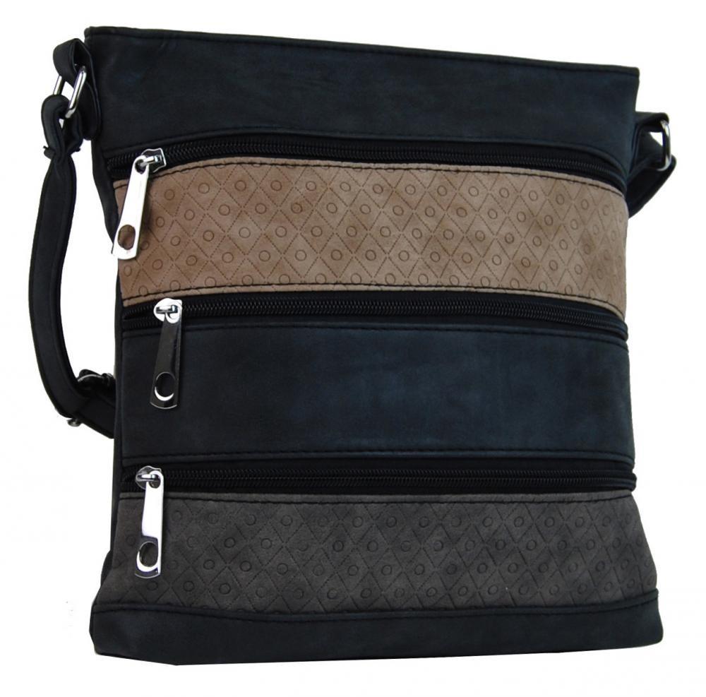 Černá crossbody kabelka s pruhy hnědými a šedými Samiel