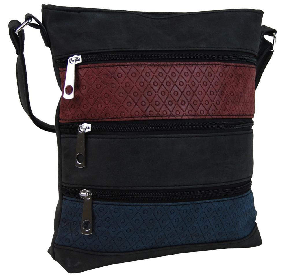 Černá crossbody kabelka s pruhy purpurovými a modrými Samiel