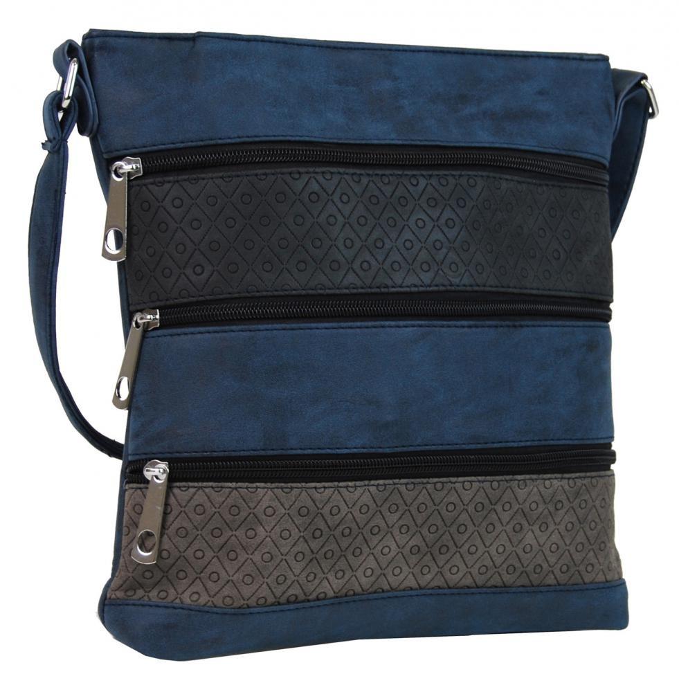 Modrá crossbody kabelka s pruhy Samiel