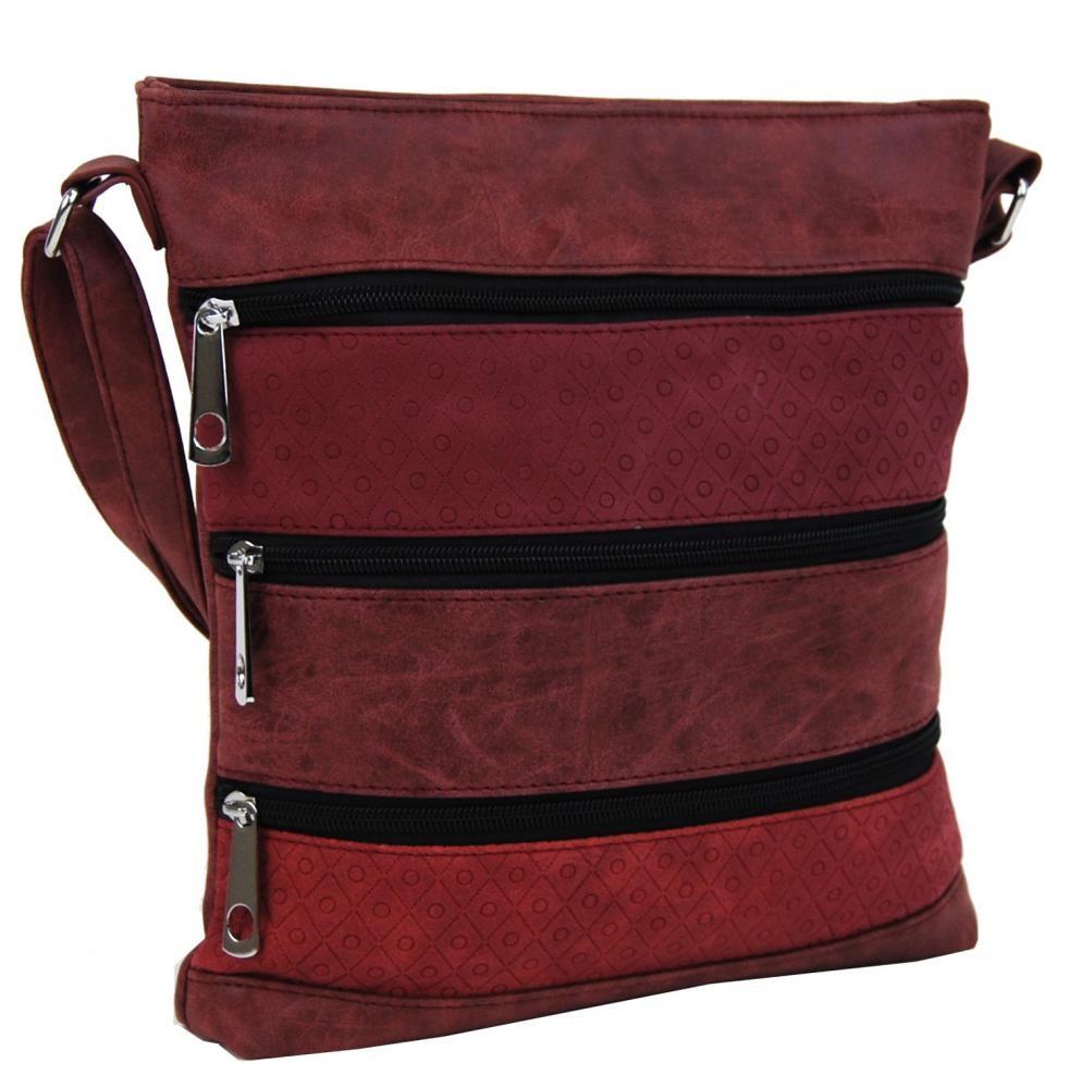 Purpurová crossbody kabelka s pruhy Samiel