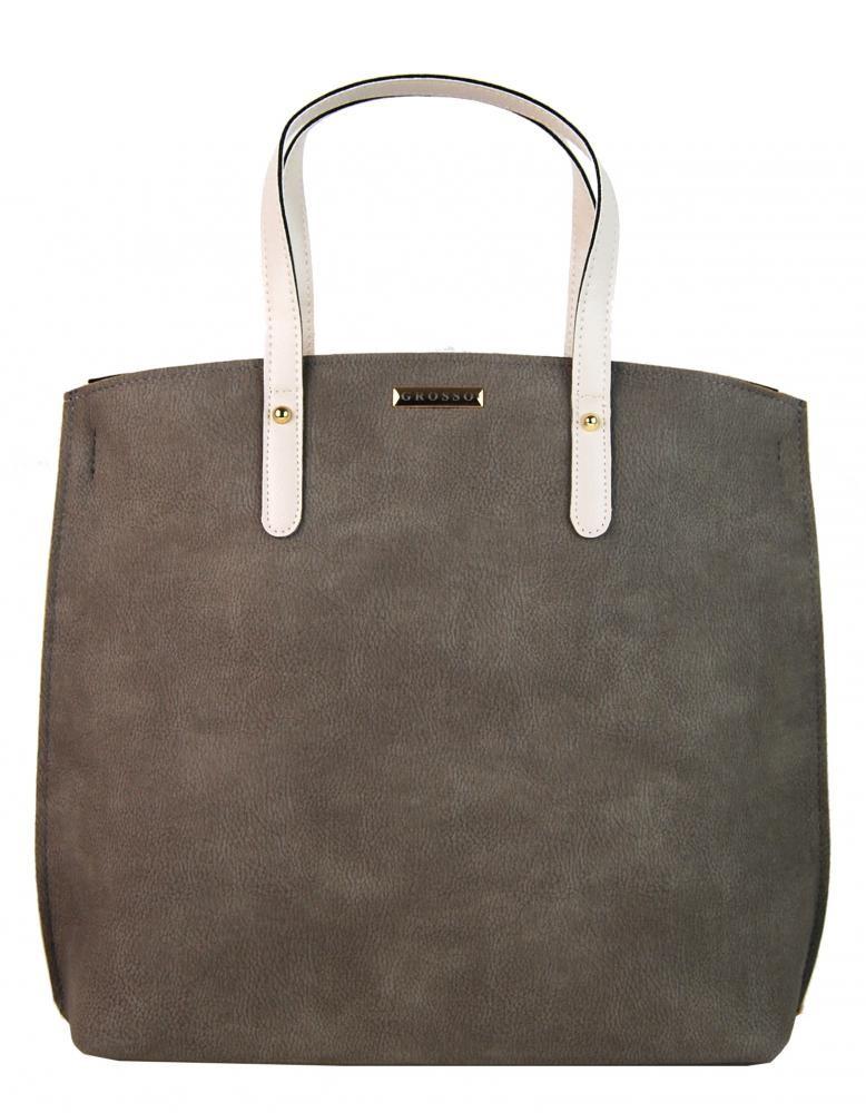 Šedo béžová matná kabelka v anglickém stylu Ksora