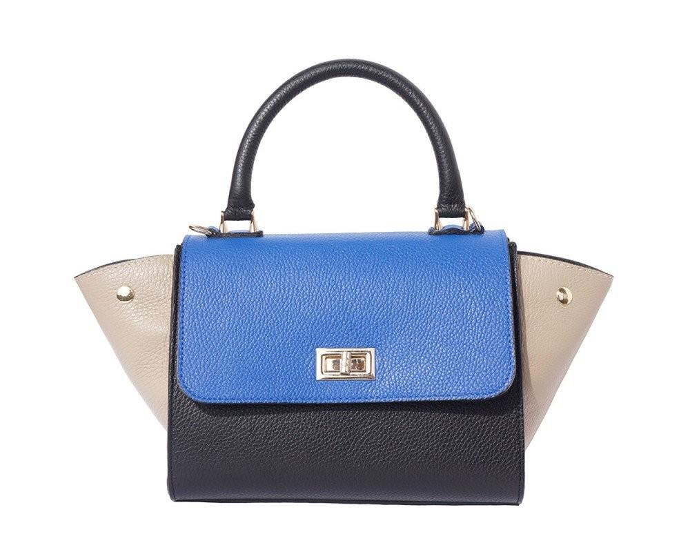 Modro černá kožená kabelka Lea