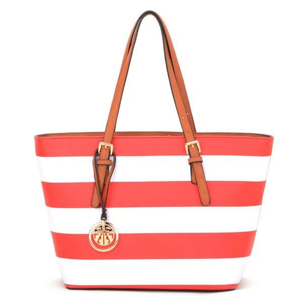Červená pruhovaná kabelka Ondien