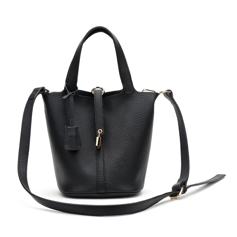 Černá kožená mini kabelka Lisa