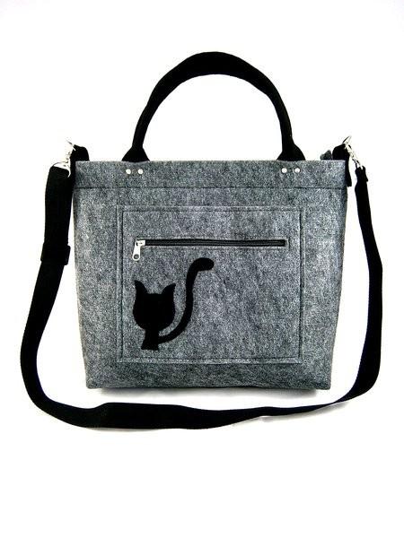 Šedá filcová luxusní kabelka Catyen