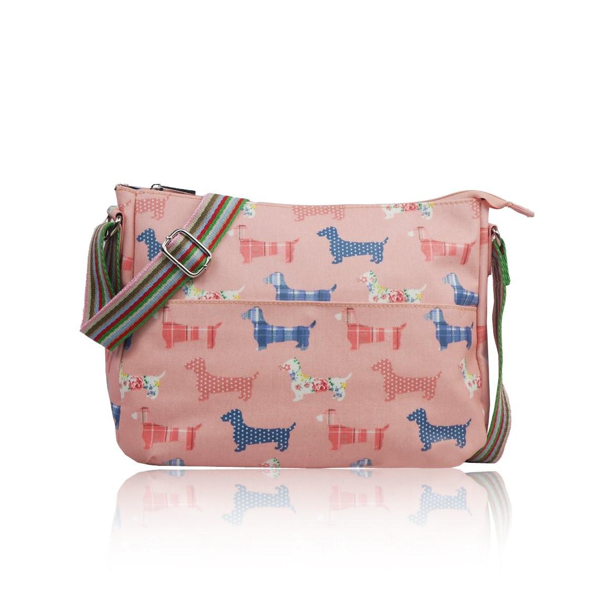 Světle růžová crossbody kabelka Doggy