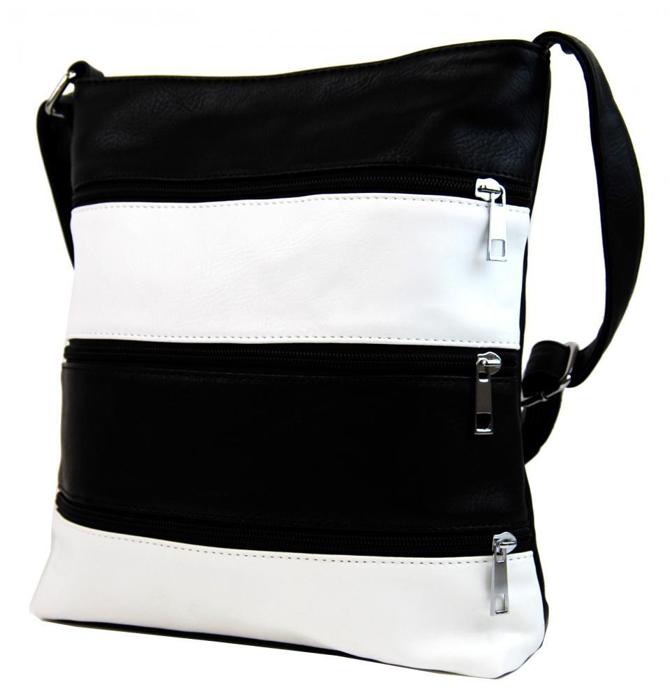 Černo bílá crossbody kabelka Nina