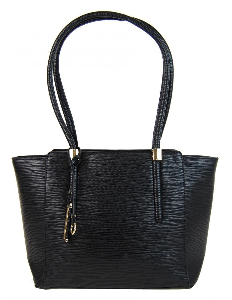 Černá elegantní kabelka na rameno se zlatými doplňky Poilen