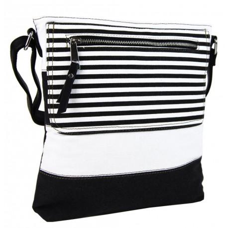 Černo bílá moderní crossbody dámská kabelka Citiel