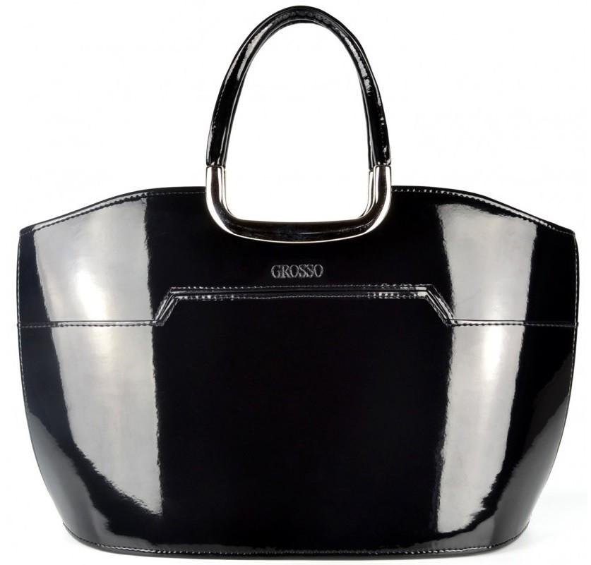 Černá elegantní lakovaná kabelka Fionna
