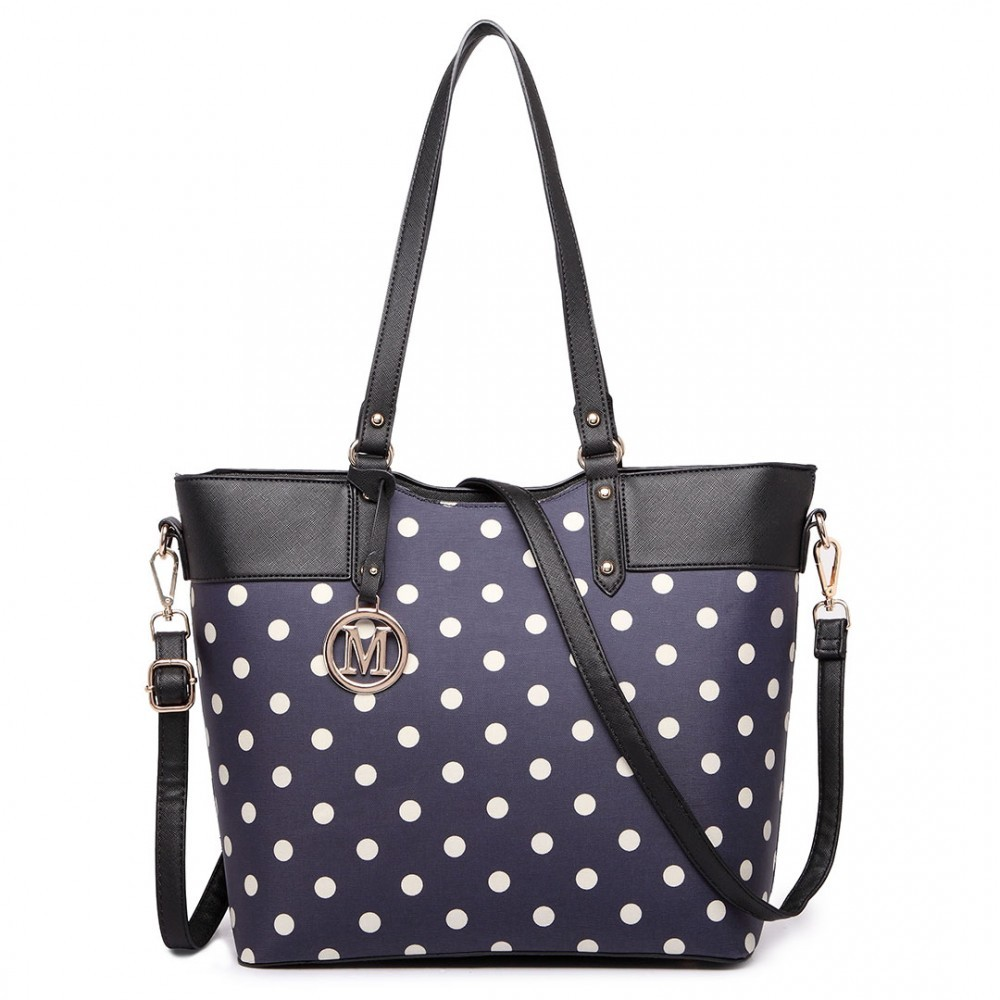 Modrá moderní kabelka s puntíky Elie