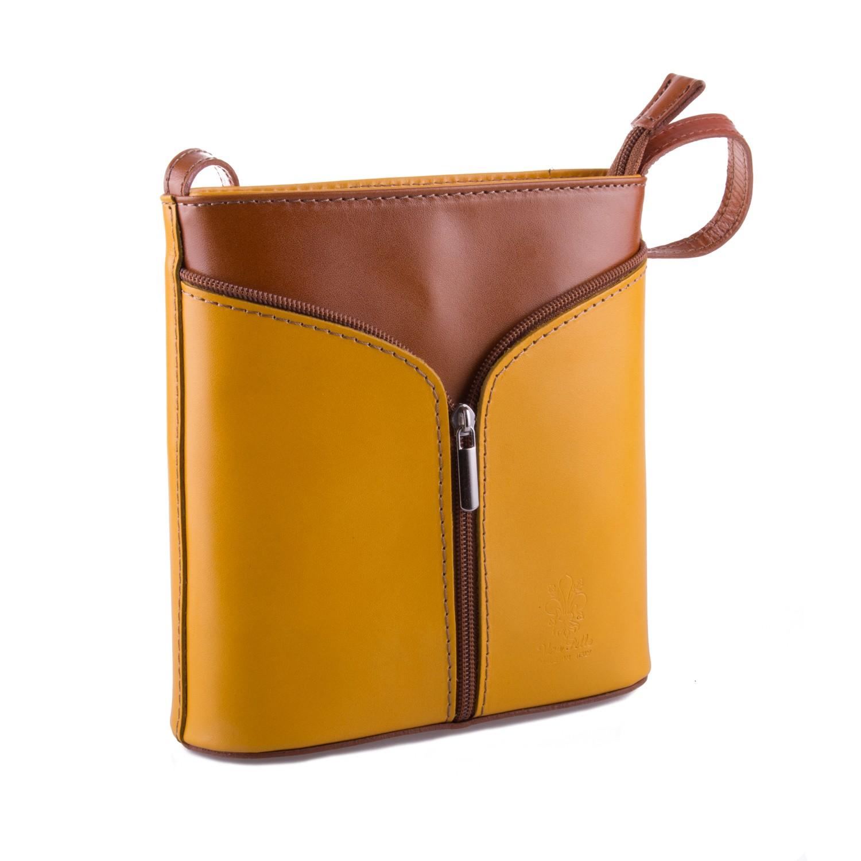Žlutá kožená zipová crossbody kabelka Apolien