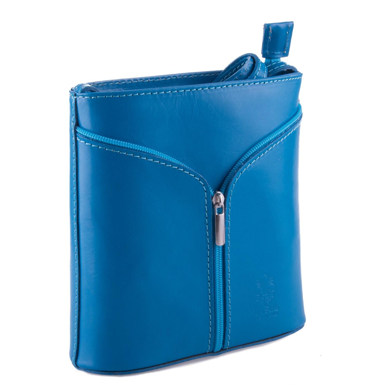 Modrá kožená zipová crossbody kabelka Apolien