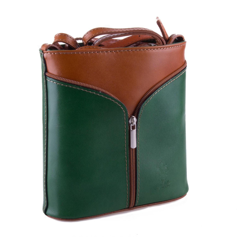 Zelená kožená zipová crossbody kabelka Apolien