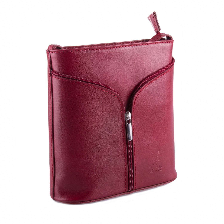 Červená kožená zipová crossbody kabelka Apolien
