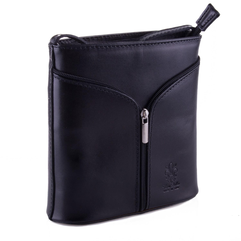 Černá kožená zipová crossbody kabelka Apolien