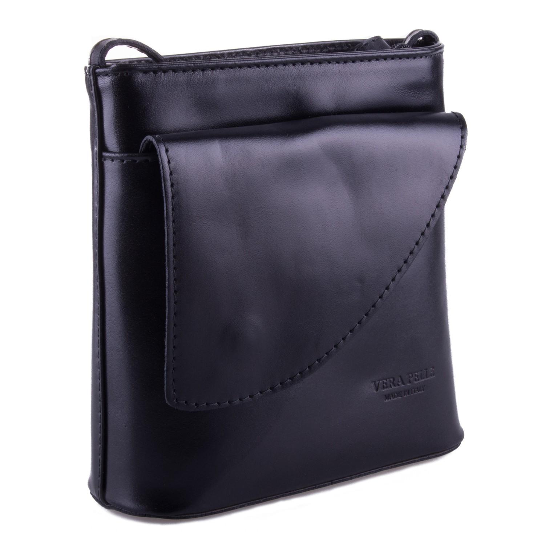 Černá kožená crossbody kabelka s klopnou Antoel