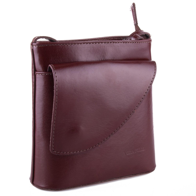 Tmavě hnědá kožená crossbody kabelka s klopnou Antoel