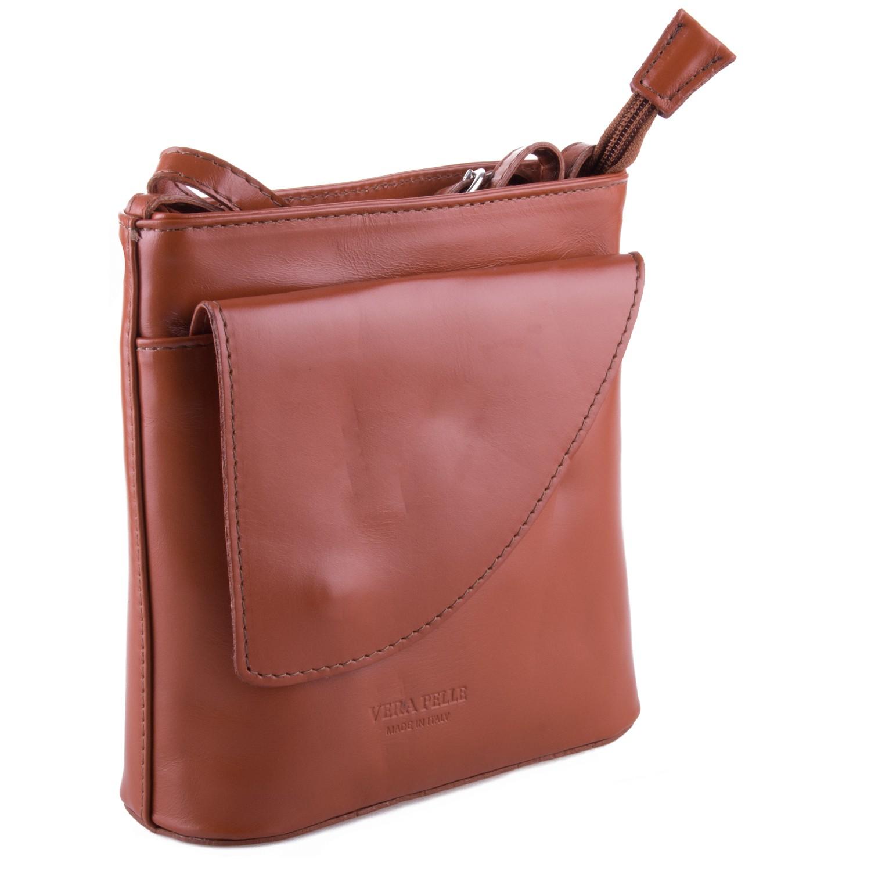 Světle hnědá kožená crossbody kabelka s klopnou Antoel