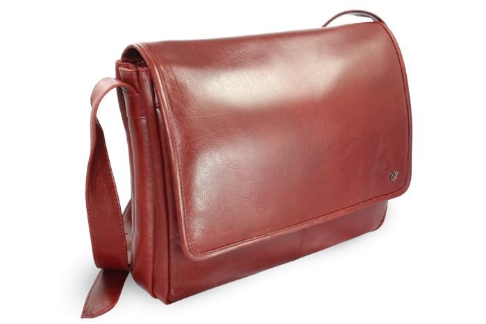 Červená kožená taška na notebook Alfred