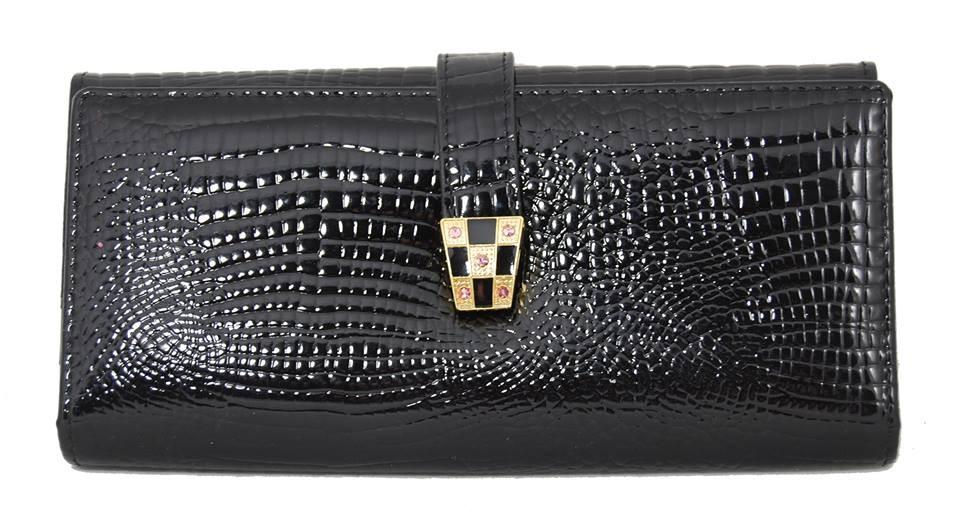Černá dámská kroko kožená peněženka Evelly