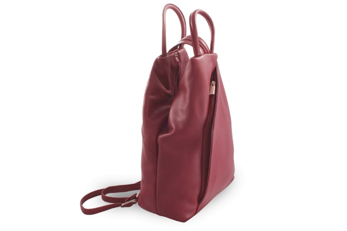 Vínový kožený batůžek a kabelka Katelien
