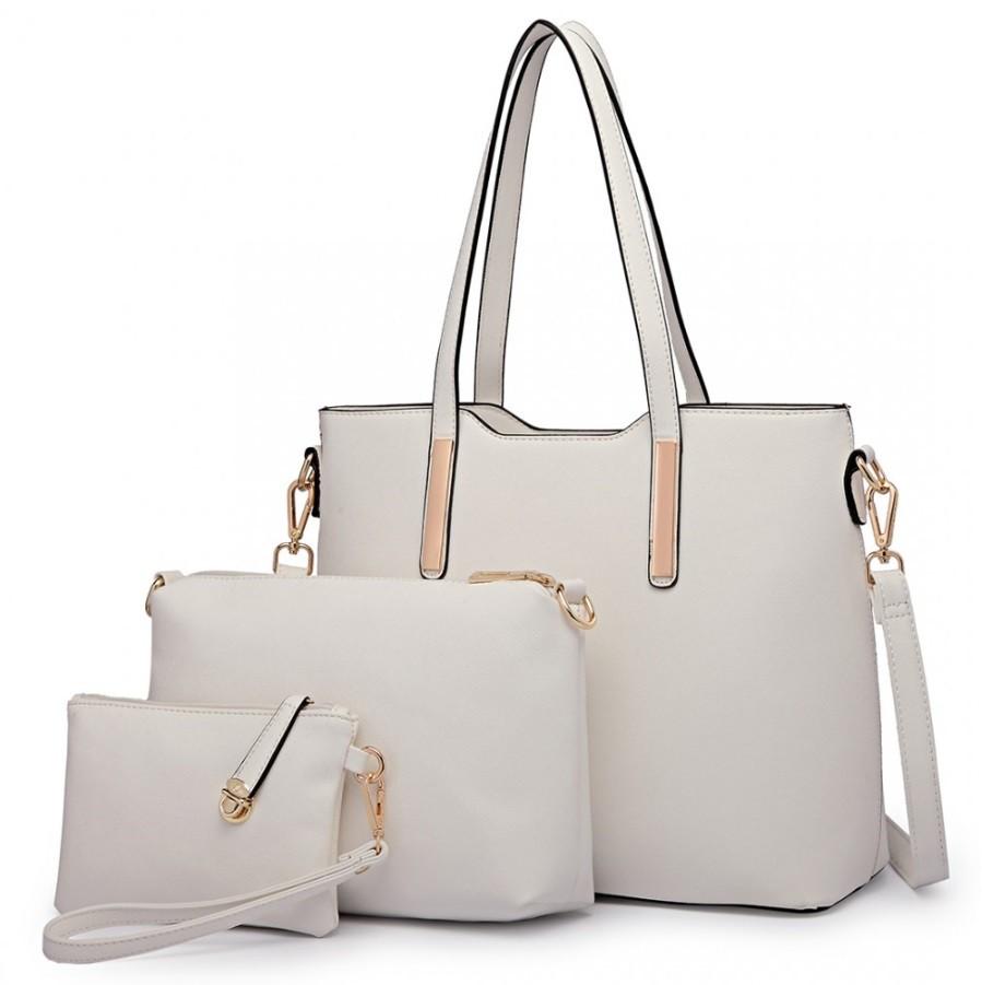 Bílý praktický dámský 3v1 kabelkový set Manmie