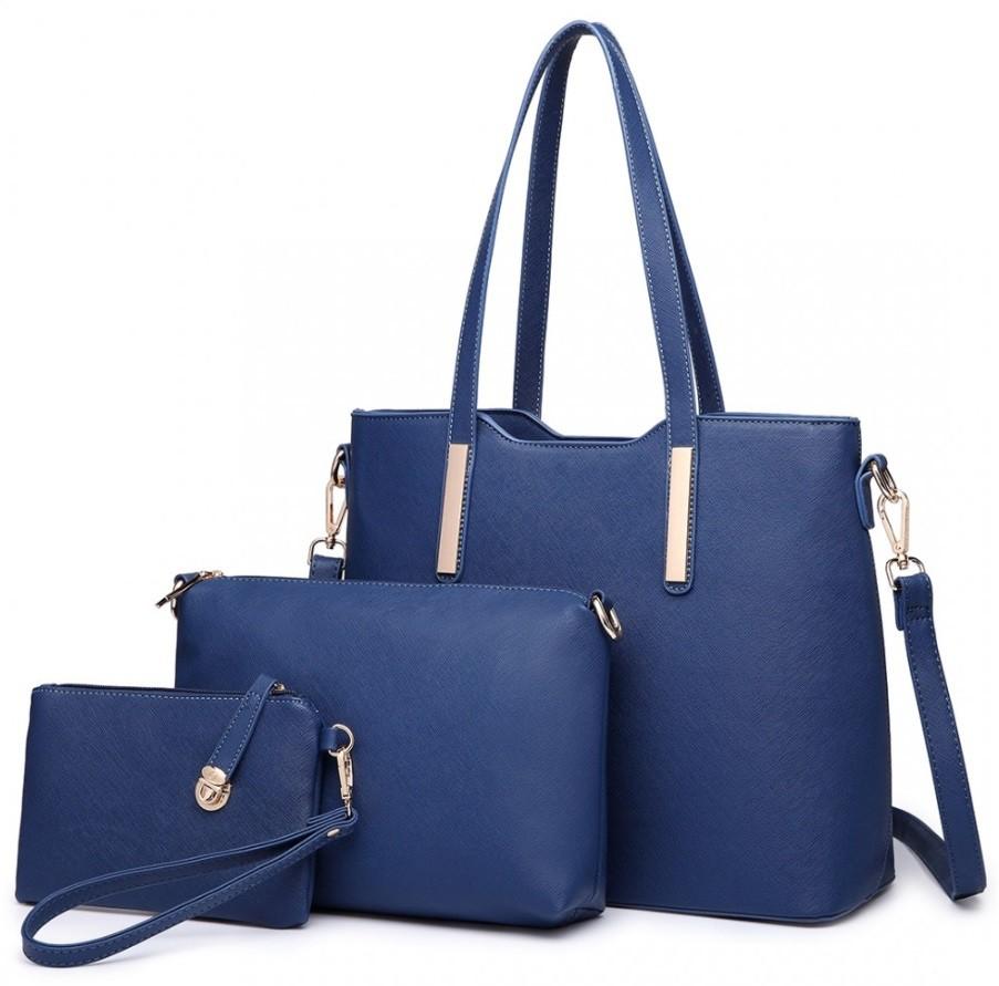 Modrý praktický dámský 3v1 kabelkový set Manmie