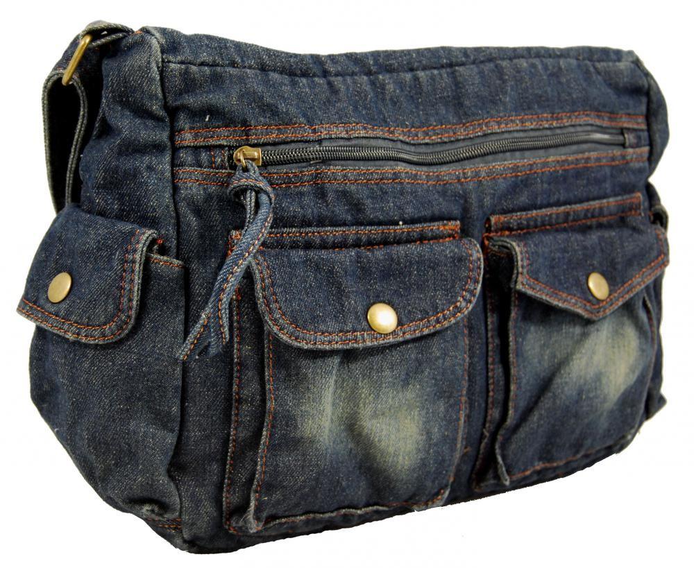 Modrá riflová látková crossbody taška na rameno
