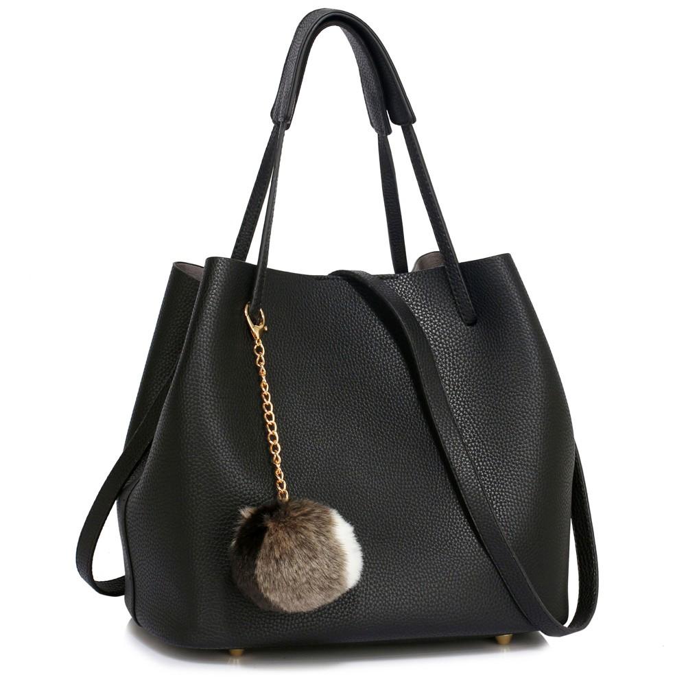 Černá dámská moderní Hobo kabelka s kožešinovou ozdobou Vlanien