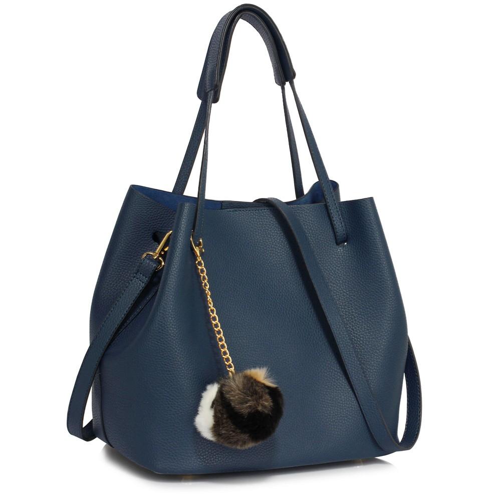 Modrá dámská moderní Hobo kabelka s kožešinovou ozdobou Vlanien