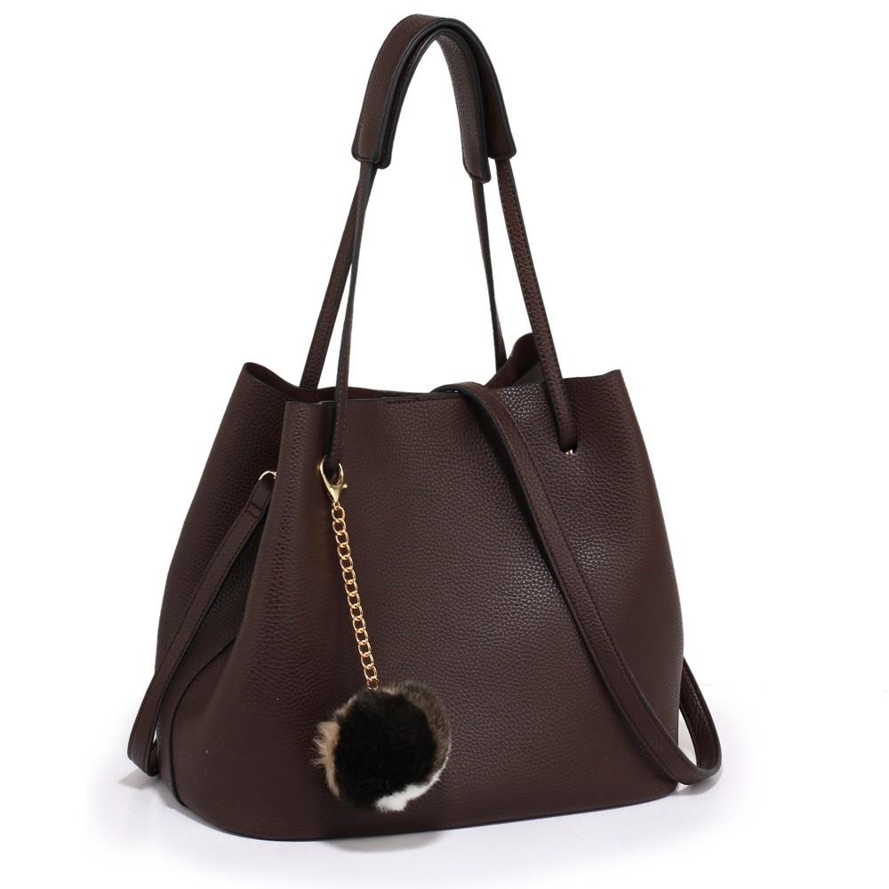 Kávová dámská moderní Hobo kabelka s kožešinovou ozdobou Vlanien