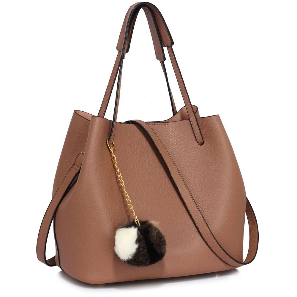 Hnědá dámská moderní Hobo kabelka s kožešinovou ozdobou Vlanien