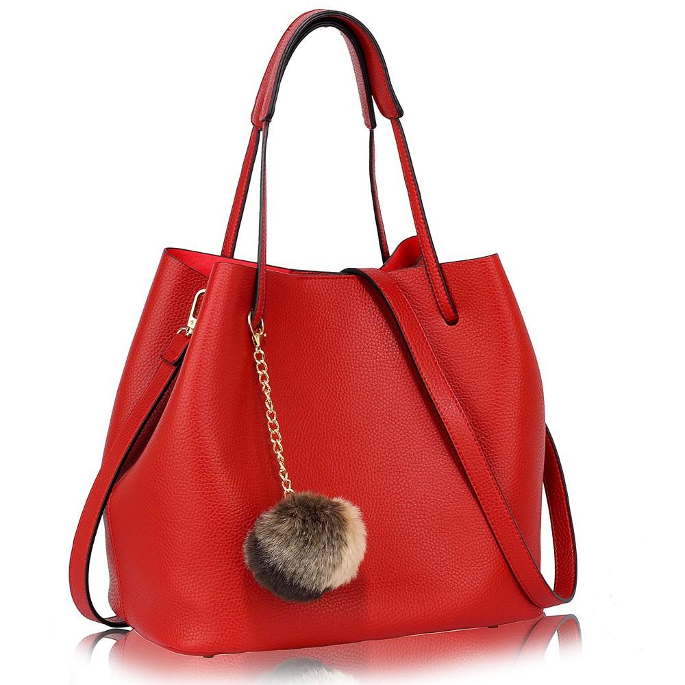 Červená dámská moderní Hobo kabelka s kožešinovou ozdobou Vlanien
